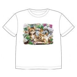Dětské tričko s dobarvujícím se potiskem – Hrající si koťátka