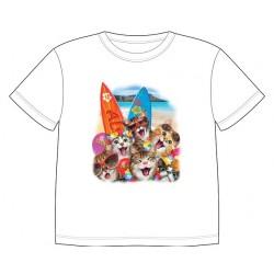 Dětské tričko s dobarvujícím se potiskem – Koťátka na pláži