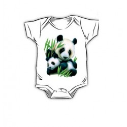 Dětské body s potiskem – Panda s mládětem