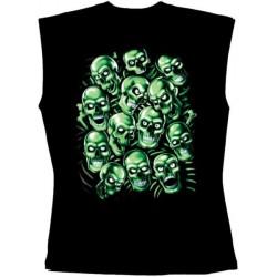 Pánské tričko bez rukávů - Green Skulls