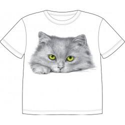 Dětské tričko s potiskem zvířat - Šedivá kočka