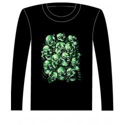 Pánské tričko s dlouhým rukávem - Green Skulls